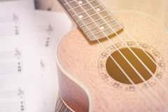 Ukulele and musical paper notes Royalty Free Stock Images