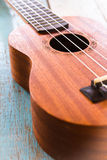 Ukulele on the old wood table. Song,sound Stock Photo