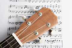 Ukulele on Paper Chords Royalty Free Stock Images