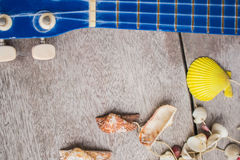 Ukulele and shells Royalty Free Stock Images