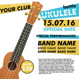 Ukulele show poster for your design battle live concert acoustic folk music indie event performance Stock Photo