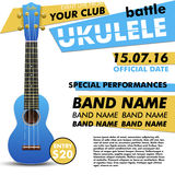 Ukulele show poster for your design battle live concert acoustic folk music indie event performance Stock Photography