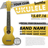 Ukulele show poster for your design battle live concert acoustic folk music indie event performance Stock Photos