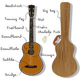 Ukulele-Teile mit Konzert-Tasche Lizenzfreie Stockbilder