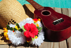 Ukulele and Tropical Hat Royalty Free Stock Photos