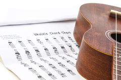 Ukulele and ukulele chord chart document Royalty Free Stock Image