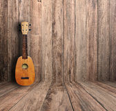 Ukulele. In vintage wood room Stock Photos