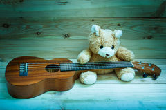 Ukulele on wood background. Stock Photography