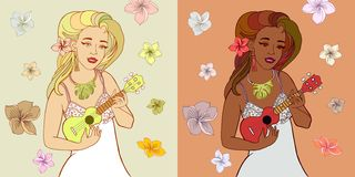 Ukuleleflickor royaltyfri illustrationer