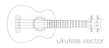 Ukulelegitarrillustration Är ett verkligt soulmusikinnehåll Vektorlinjen skissar vektor illustrationer