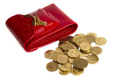 ukuwać nazwę złoto odizolowywającego kiesy czerwonego biel Zdjęcia Stock