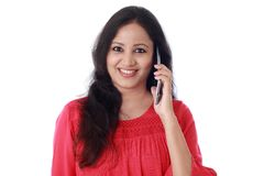 Ul young woman talking on mobile phone Stock Photos
