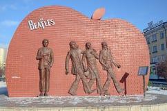 Ulaanbaatar,蒙古- 2015年12月, 03 :对传奇小组的纪念碑Beatles在Ulaanbaatar 免版税库存图片