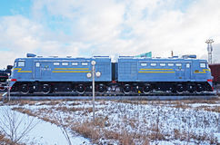 Ulaanbaatar,蒙古12月, 02 2015年:机车TE2-522 铁路设备博物馆在Ulaanbaatar 蒙古 免版税图库摄影