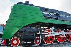 Ulaanbaatar,蒙古12月, 02 2015年:蒸汽机车P36a 铁路设备博物馆在Ulaanbaatar 蒙古 免版税图库摄影