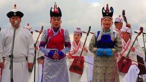 ULAANBAATAR,蒙古- 2013年7月:蒙古音乐表现 股票视频