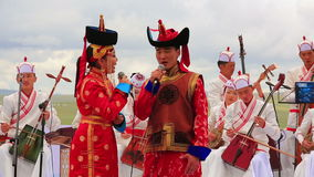 ULAANBAATAR,蒙古- 2013年7月:蒙古音乐表现 股票录像