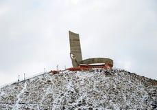 Ulaanbaatar, MN - 2015年12月, 02 :记忆在Ulaanbaatar蒙古tuffet的复杂Zaisan  免版税库存照片