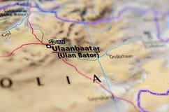 Ulaanbaatar на карте Стоковые Фото