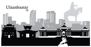 Ulaanbaatar, Capital of Mongolia. Vector illustration of the skyline cityscape of Ulaanbaatar, the capital of Mongolia Royalty Free Stock Photos
