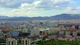 Ulaanbaatar cityscape, Mongolia. Ulaanbaatar cityscape fading into Mongolia's landscape stock footage