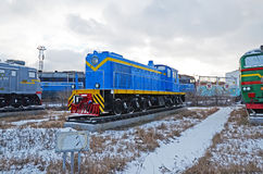 Ulaanbaatar, 02 Mongolië-Dec, 2015: Afleidende diesel locomotief, tem-1 Museum van spoorweguitrusting in Ulaanbaatar mongolië Royalty-vrije Stock Afbeeldingen