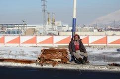 Ulaanbaatar Mongolia, Dec, -, 03 2015: Mężczyzna sprzedaje skóry wołowe na stronie droga w Mongolia Fotografia Stock