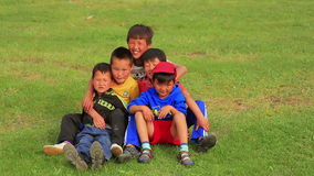 ULAANBAATAR, MONGOLIA - JULY 2013: Mongol kids posing stock video