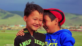 ULAANBAATAR, MONGOLIA - JULY 2013: Mongol kids posing stock video footage