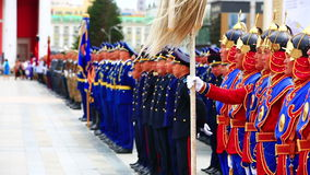ULAANBAATAR, MONGOLIA - JULY 2013: Mongolian Army at Naadam Festival stock video footage