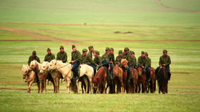 ULAANBAATAR, MONGOLIA - JULY 2013: Mongolian Cavalry at Naadam Festival stock video footage