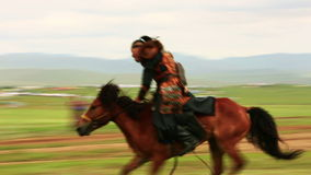 ULAANBAATAR, MONGOLIA - JULY 2013: Mongolian Medieval Warrior Shows stock video footage