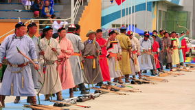 ULAANBAATAR, MONGOLIA - JULY 2013: Naadam Festival Archery Tournament stock video footage