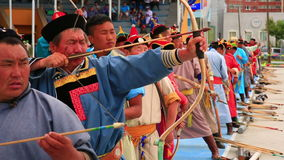 ULAANBAATAR, MONGOLIA - JULY 2013: Naadam Festival Archery Tournament stock footage