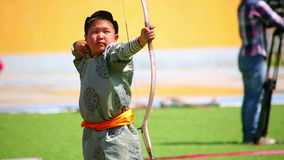 ULAANBAATAR, MONGOLIA - JULY 2013: Naadam Festival Archery Tournament stock video