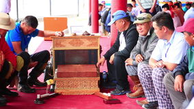 ULAANBAATAR, MONGOLIA - JULY 2013: Naadam Festival Knucklebone Tournament stock video