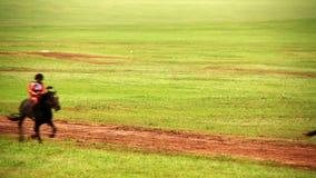 ULAANBAATAR, MONGOLIA - JULY 2013: Stallion Horse Race 2013 Finals. During Naadam Festival stock footage