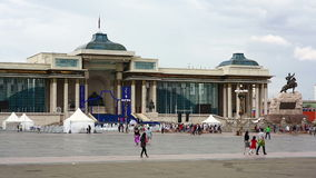 ULAANBAATAR, MONGOLIA - JULY 2013: View of Sukhbaatar Square stock video footage