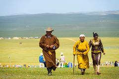 Mongolian Family Traditional Clothes Steppe Rural Royalty Free Stock Images