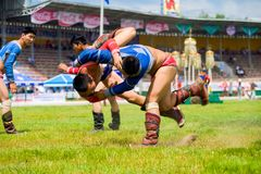 Naadam Festival Teenage Wrestling Throwing Mid-Air. Ulaanbaatar, Mongolia - June 11, 2007: A teenage wrestler throwing his opponent mid-air to the ground inside Royalty Free Stock Photo