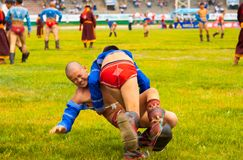 Naadam Festival Boys Wrestling Match Thrown Ground Royalty Free Stock Photo