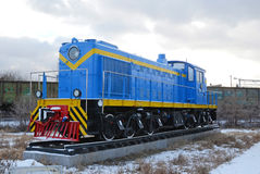 Ulaanbaatar, Mongolie-décembre, 02 2015 : Locomotive diesel de manoeuvre, TEM-1 Musée d'équipement de chemin de fer dans Ulaanbaa Image stock