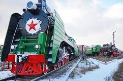 Ulaanbaatar Mongoliet-December, 02 2015: Ångalokomotiv P36a Museum av järnväg utrustning i Ulaanbaatar Mongoliet Arkivbilder