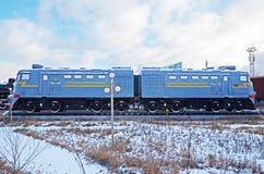 Ulaanbaatar Mongoliet-December, 02 2015: Lokomotiv TE2-522 Museum av järnväg utrustning i Ulaanbaatar Mongoliet Royaltyfri Fotografi