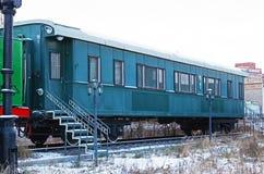 Ulaanbaatar Mongoliet-December, 02 2015: MarskalkChoibalsan pansarbil Museum av järnväg utrustning i Ulaanbaatar Mongoliet Arkivfoton