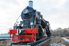 Ulaanbaatar Mongoliet-December, 02 2015: Serie EL-266 för ångalokomotiv Museum av järnväg utrustning i Ulaanbaatar Mongoliet Fotografering för Bildbyråer