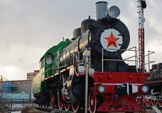 Ulaanbaatar Mongoliet-December, 02 2015: Serie Su-116 för ångalokomotiv Museum av järnväg utrustning i Ulaanbaatar Mongoliet Fotografering för Bildbyråer