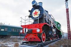 Ulaanbaatar Mongoliet-December, 02 2015: Serie Su-116 för ångalokomotiv Museum av järnväg utrustning i Ulaanbaatar Mongoliet Arkivfoto
