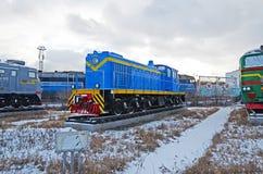 Ulaanbaatar Mongoliet-December, 02 2015: Shunting diesel- lokomotiv, TEM-1 Museum av järnväg utrustning i Ulaanbaatar Mongoliet Royaltyfria Bilder