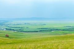 Ulagai干草原和弯曲的河 免版税库存图片